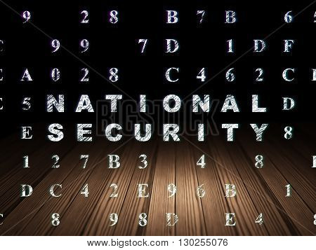 Privacy concept: Glowing text National Security in grunge dark room with Wooden Floor, black background with Hexadecimal Code