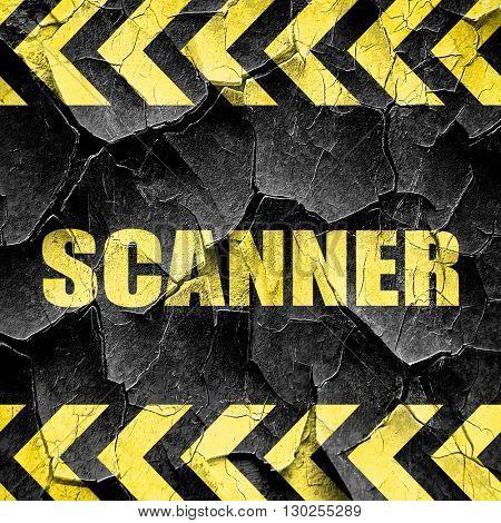 scanner, black and yellow rough hazard stripes