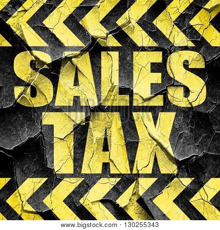 sales tax, black and yellow rough hazard stripes