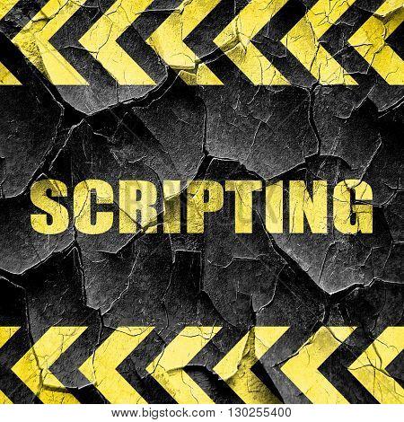 scripting, black and yellow rough hazard stripes