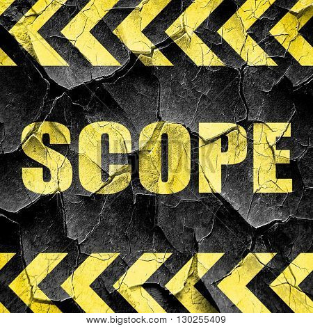 scope, black and yellow rough hazard stripes
