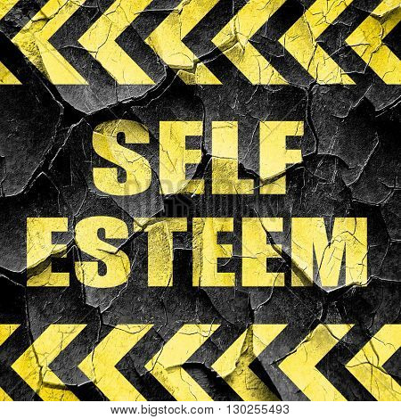 self esteem, black and yellow rough hazard stripes