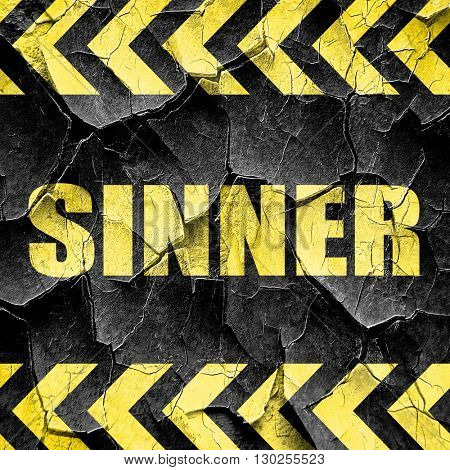 sinner, black and yellow rough hazard stripes