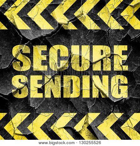 secure sending, black and yellow rough hazard stripes