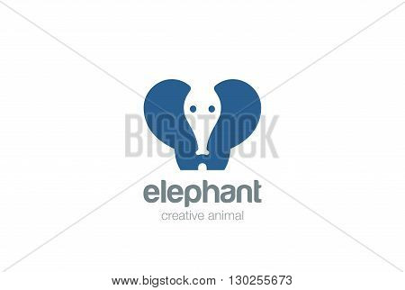 Elephant funny silhouette abstract geometric Logo design vector template Negative space. Wild animal Logotype concept icon
