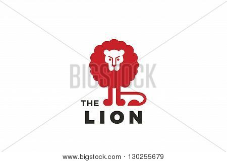 Lion funny silhouette abstract geometric Logo design vector template Negative space. Wild animal Logotype concept icon