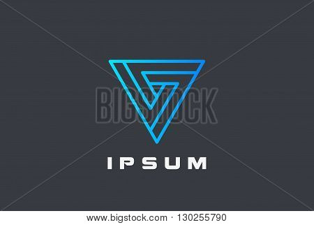 Triangle Infinity Geometric Logo vector linear infinite loop