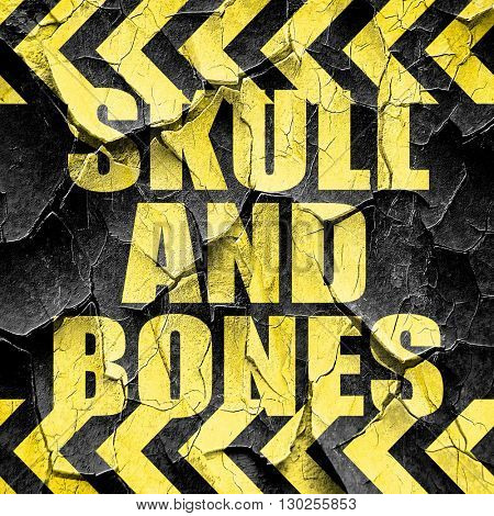 skull and bones, black and yellow rough hazard stripes