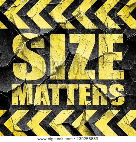 size matters, black and yellow rough hazard stripes