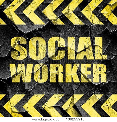 social worker, black and yellow rough hazard stripes