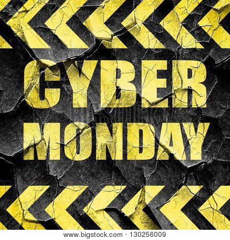 cyber monday, black and yellow rough hazard stripes