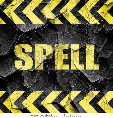 spell, black and yellow rough hazard stripes