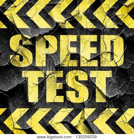 speed test, black and yellow rough hazard stripes