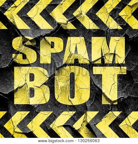 spam bot, black and yellow rough hazard stripes