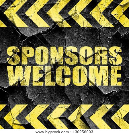 sponsors welcome, black and yellow rough hazard stripes