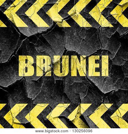 Brunei, black and yellow rough hazard stripes