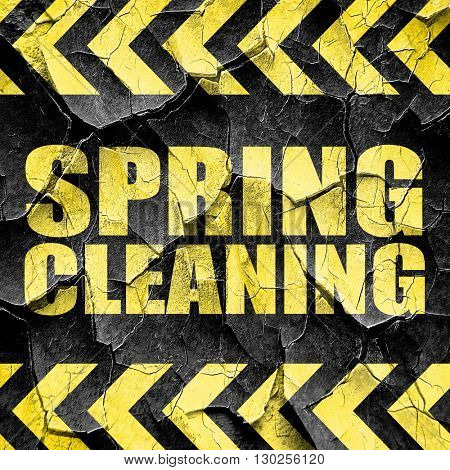 spring cleaning, black and yellow rough hazard stripes