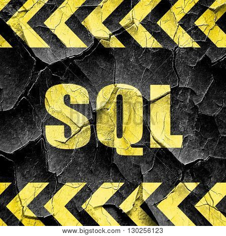 sql, black and yellow rough hazard stripes