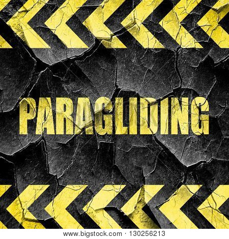 paragliding sign background, black and yellow rough hazard strip