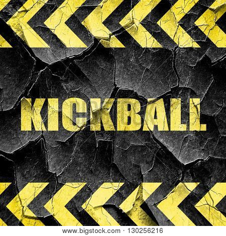 kickball sign background, black and yellow rough hazard stripes