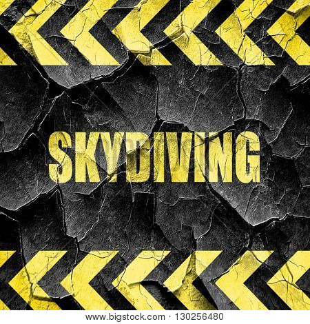 skydiving sign background, black and yellow rough hazard stripes