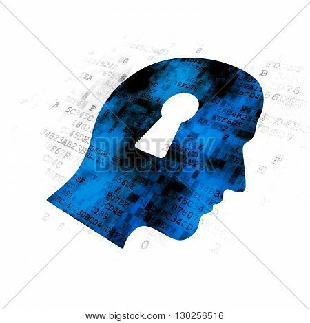 Information concept: Pixelated blue Head With Keyhole icon on Digital background