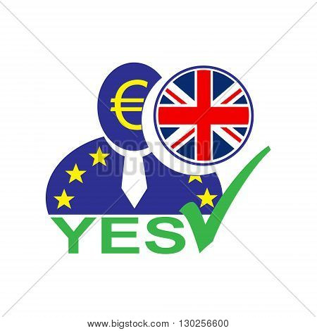 European union man icon with euro symbol and United Kingdom flag symbolizing the Britain leaving the EU. Brexit. Yes vote in referendum.