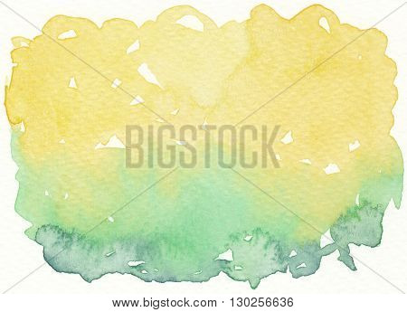 the faded yellow green watercolor abstract background