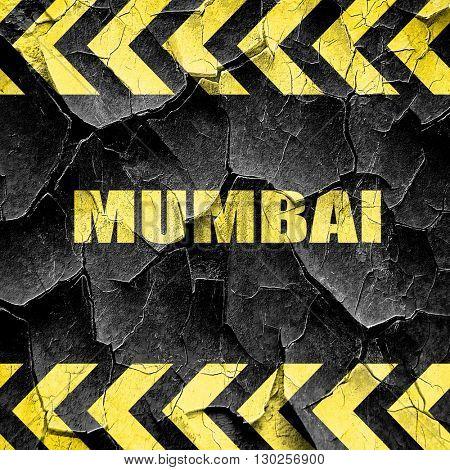 mumbai, black and yellow rough hazard stripes