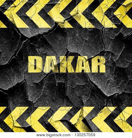 dakar, black and yellow rough hazard stripes