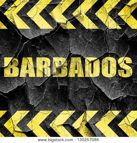 barbados, black and yellow rough hazard stripes
