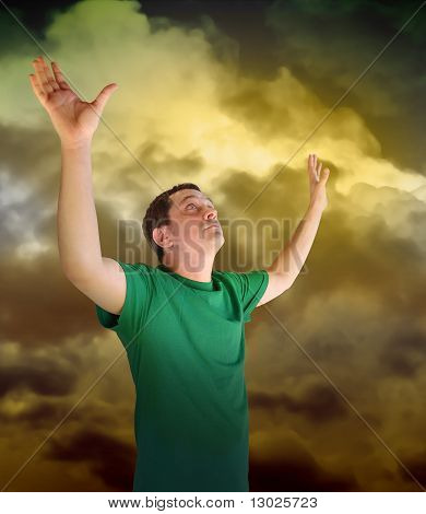Religious Peace Man Reaching for the Sky Clouds