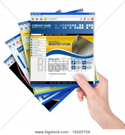 Hand Holding Internet Website Templates