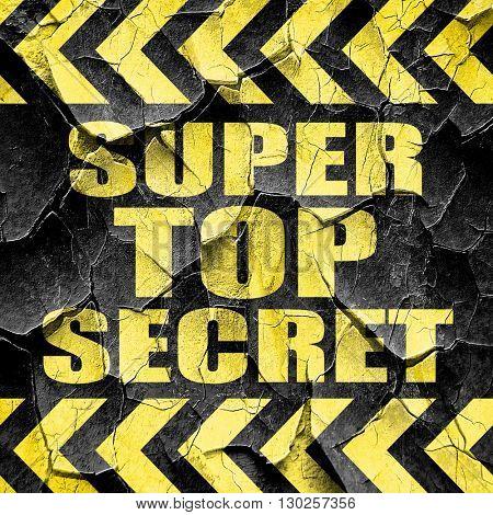 super top secret, black and yellow rough hazard stripes