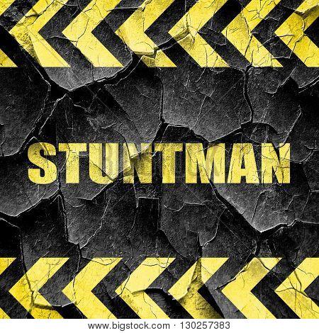 stuntman, black and yellow rough hazard stripes