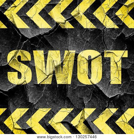swot, black and yellow rough hazard stripes