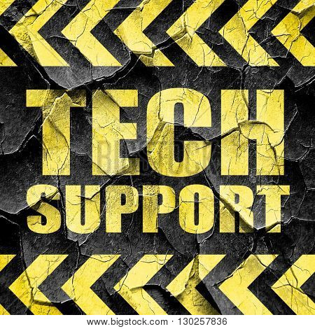 tech support, black and yellow rough hazard stripes