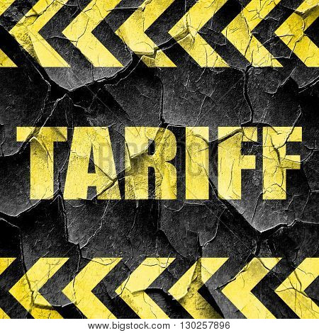 tariff, black and yellow rough hazard stripes