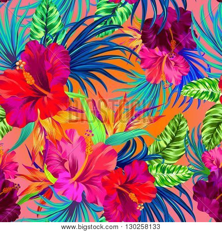 vector tropical flowers. seamless aloha pattern, amazing flowers.