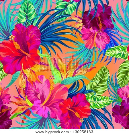 tropical flowers. seamless aloha pattern with amazing flowers.