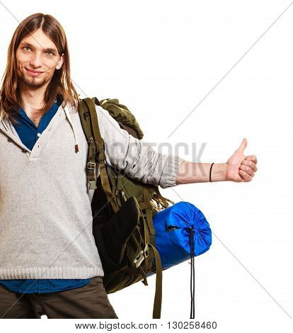 Man Tourist Hitchhiker With Thumb Up Gesture.