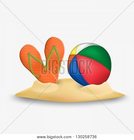 Beach ball and beach slippers icon. Beach ball and beach slippers vector. Beach ball and beach slippers isolated on white background.