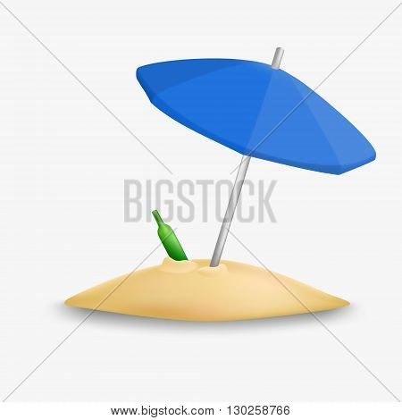 Beach umbrella icon. Beach umbrella isolated. Vector beach umbrella. Beach umbrella with sand and bottle. Umbrella beach.