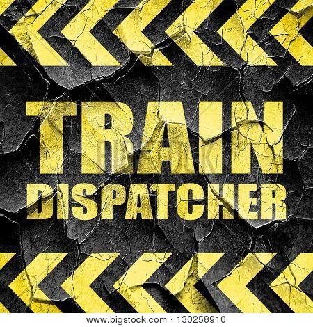 train dispatcher, black and yellow rough hazard stripes