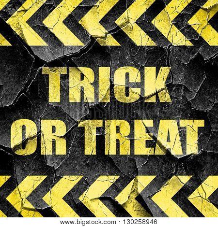 trick or treat, black and yellow rough hazard stripes