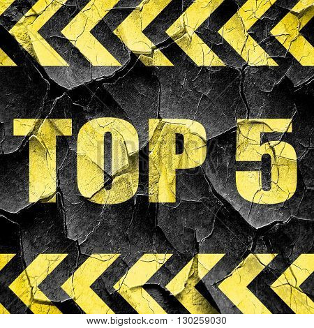 top 5, black and yellow rough hazard stripes