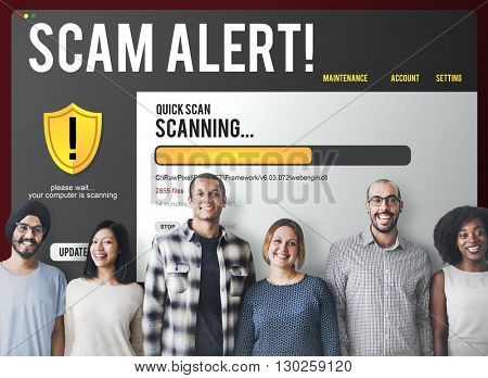 Scam Alert Network Security Concept