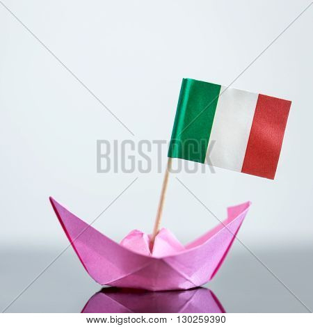 Paper Ship With Italian Flag