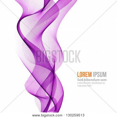 Abstract vector background, purple transparent waved lines for brochure, website, flyer design.  purple smoke wave. purple wavy background
