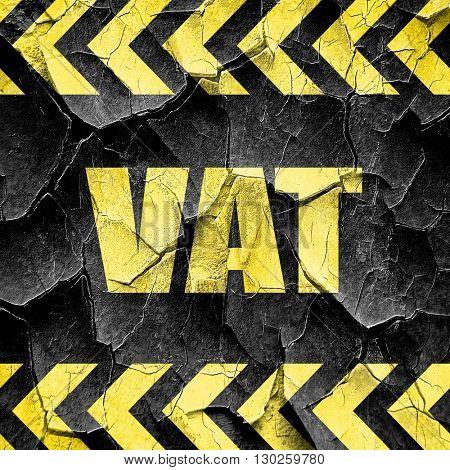 vat, black and yellow rough hazard stripes